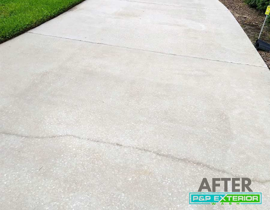 Concrete surface after being cleaned