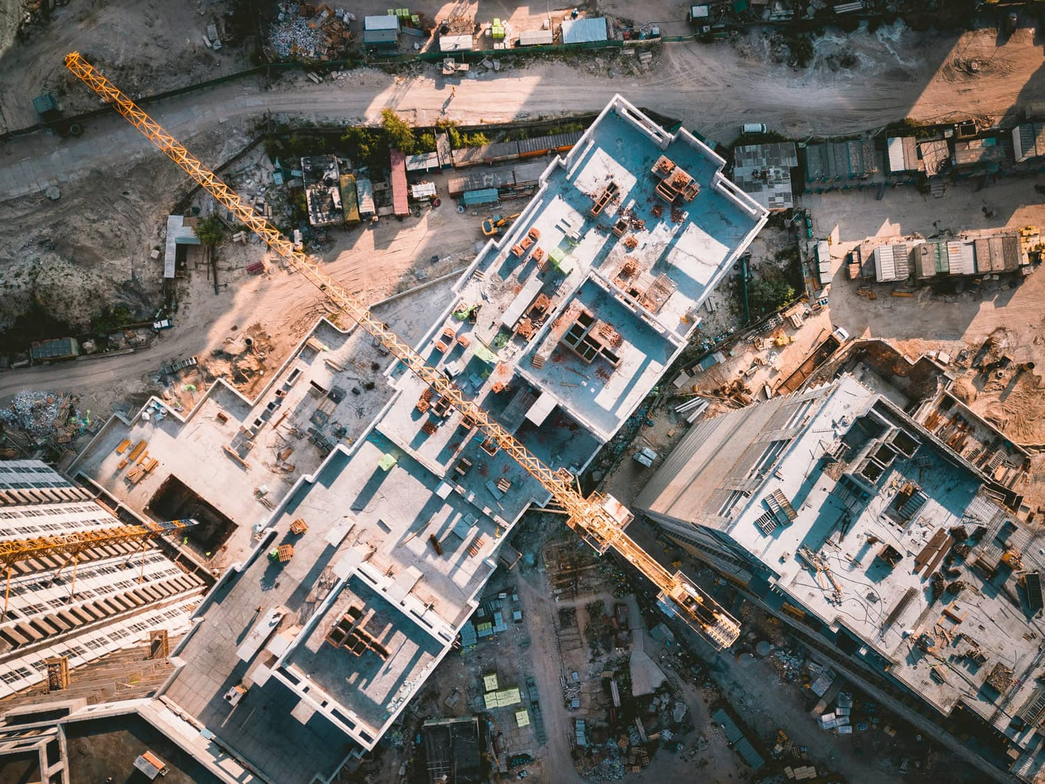 Aerial photo of crane in a construction site