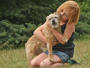 Dog and Child at Haslett Animal Hospital