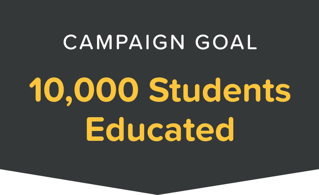 Campaign Goal - 10,000 Students Educated