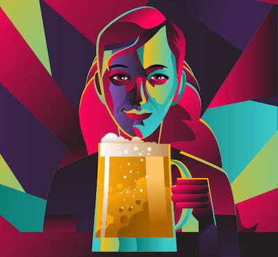 Illustration of woman golding a large mug of beer. Alcohol Gender Norms pbs rewire