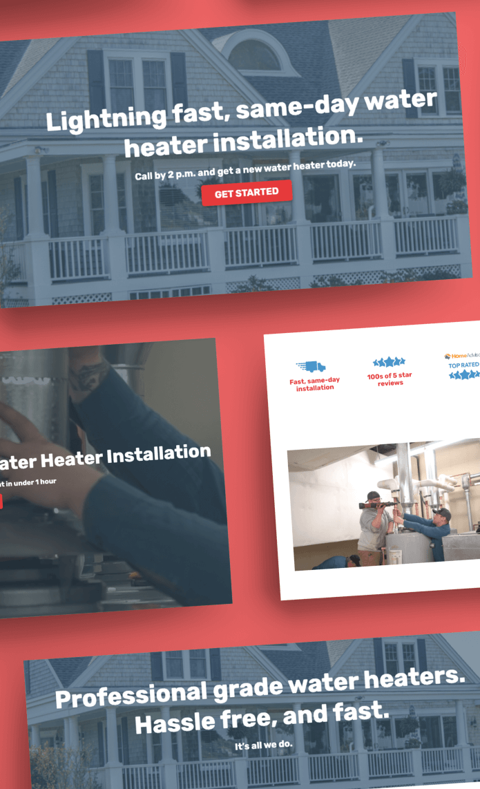 Website redesign for Water Heaters Now.