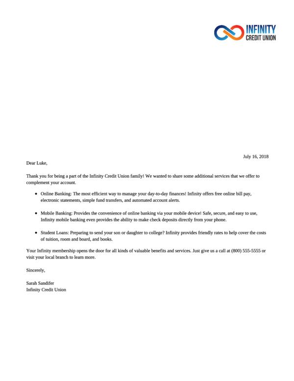 Marketing Cross-Sell Letter