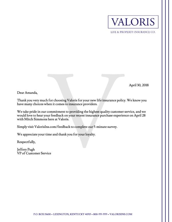 Customer Service Survey Letter