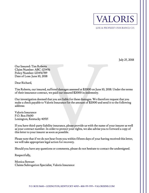 Subrogation Letter