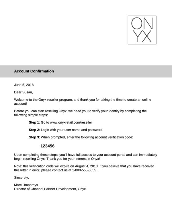 Account Verification Letter