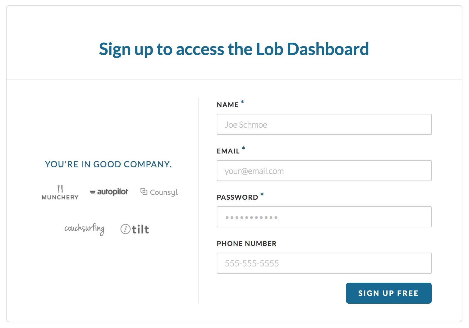 lob registration page