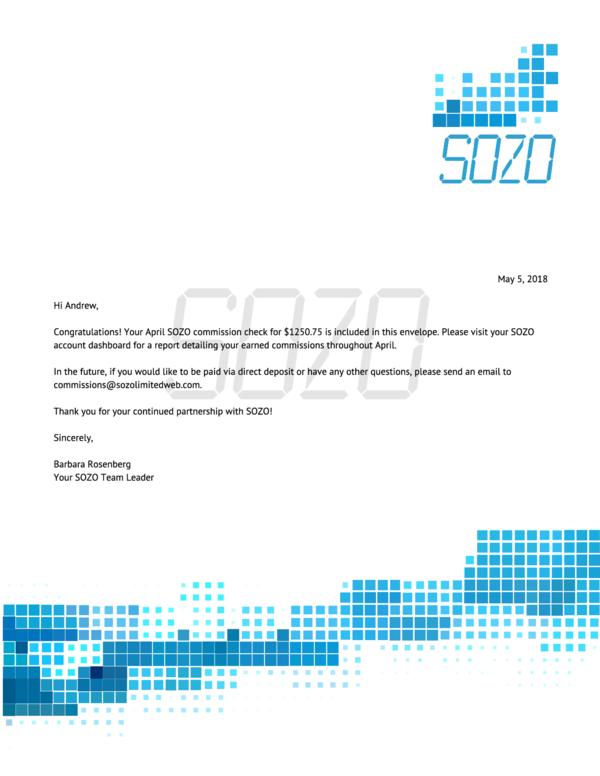 Commission Check Letter
