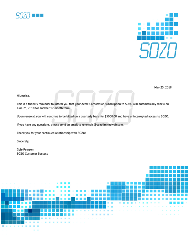 Renewal Notification Letter