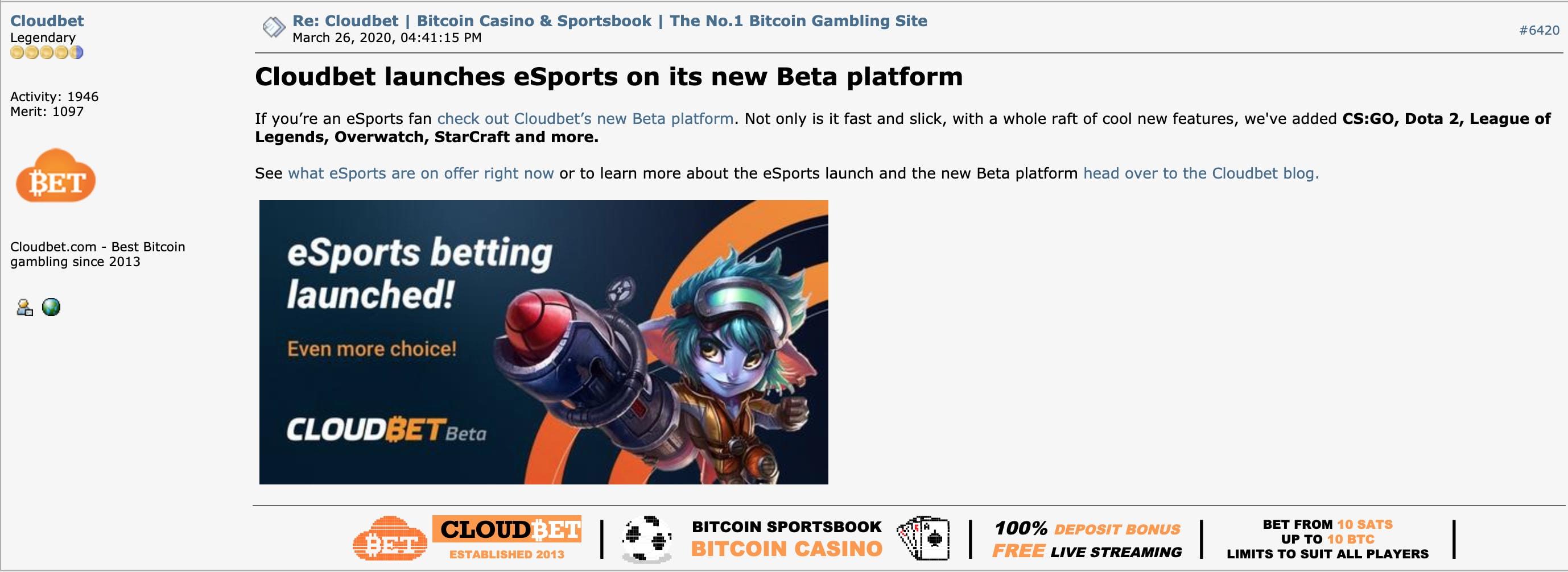 Cloudbet's Bitcoin Talk Avatar & Signature