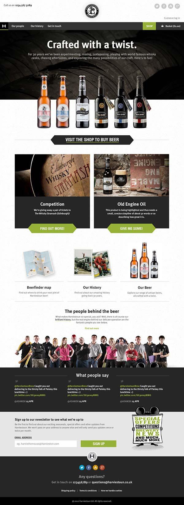 Harviestoun Brewery homepage