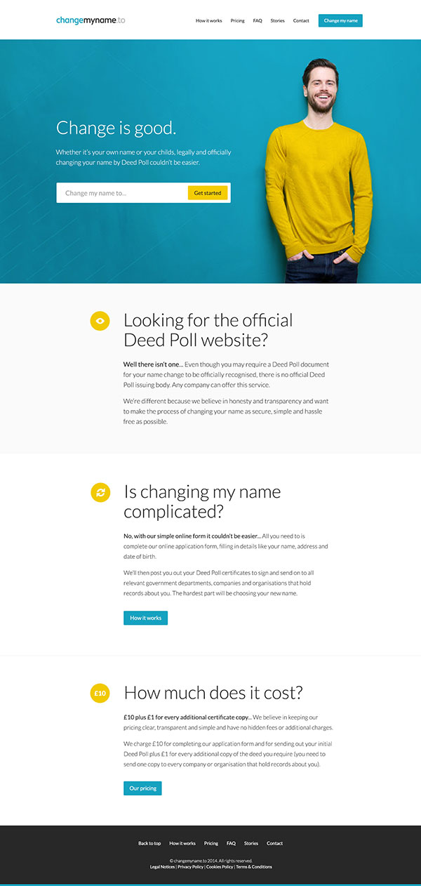 Change My Name homepage