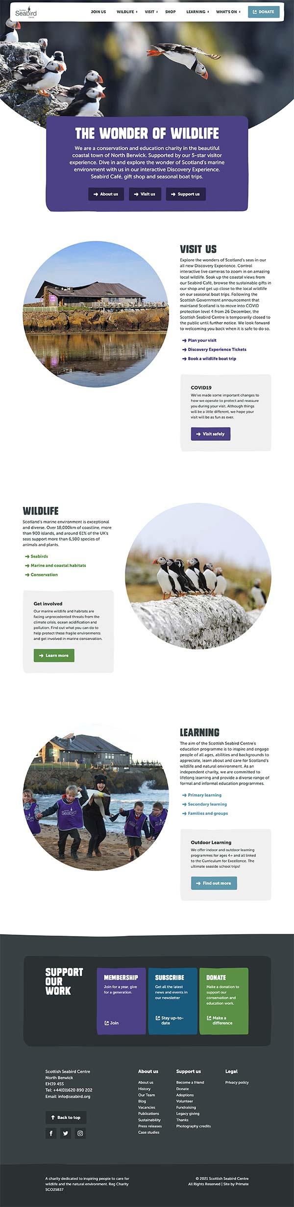 Scottish Seabird Centre homepage