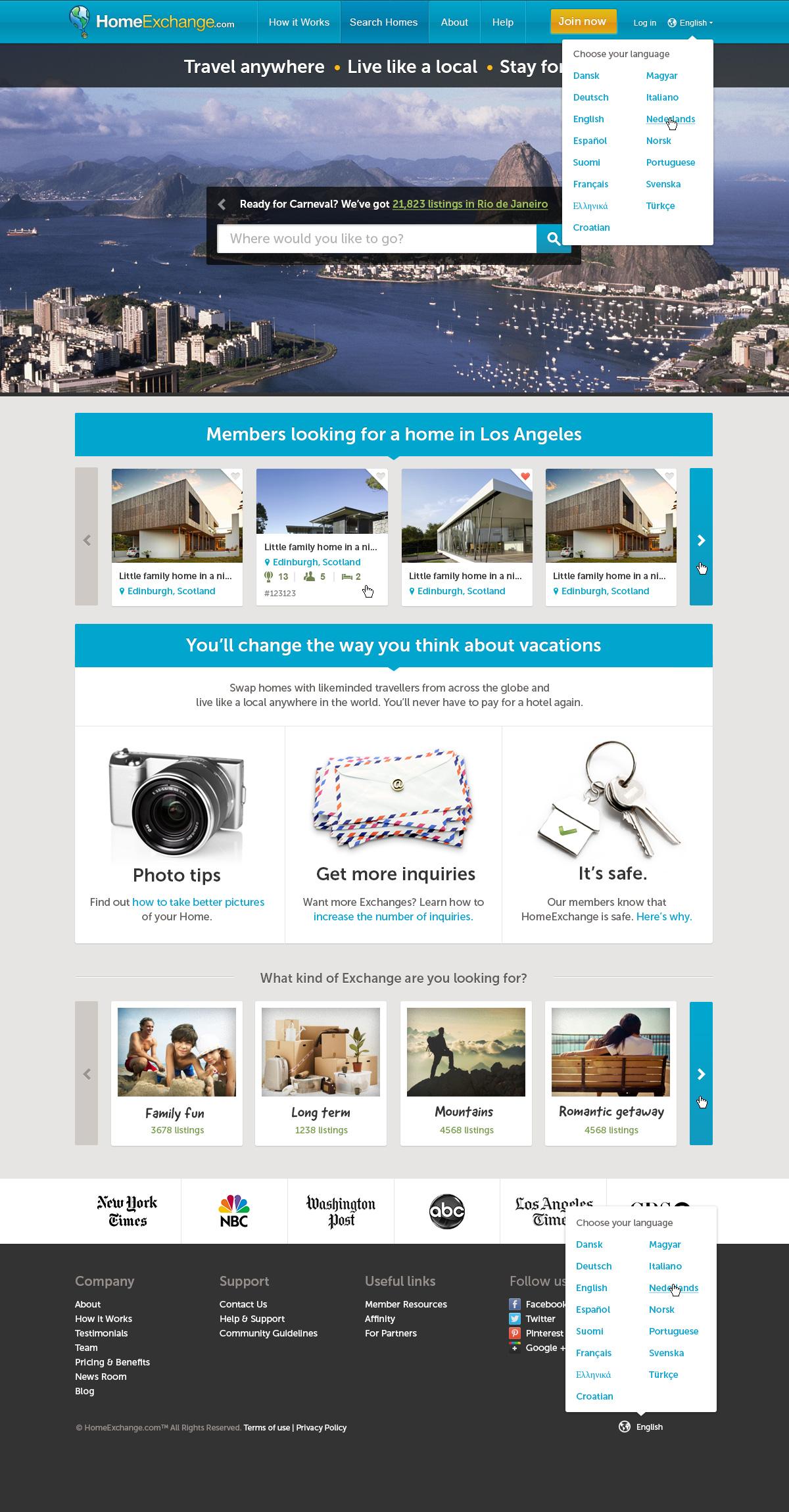 HomeExchange.com homepage