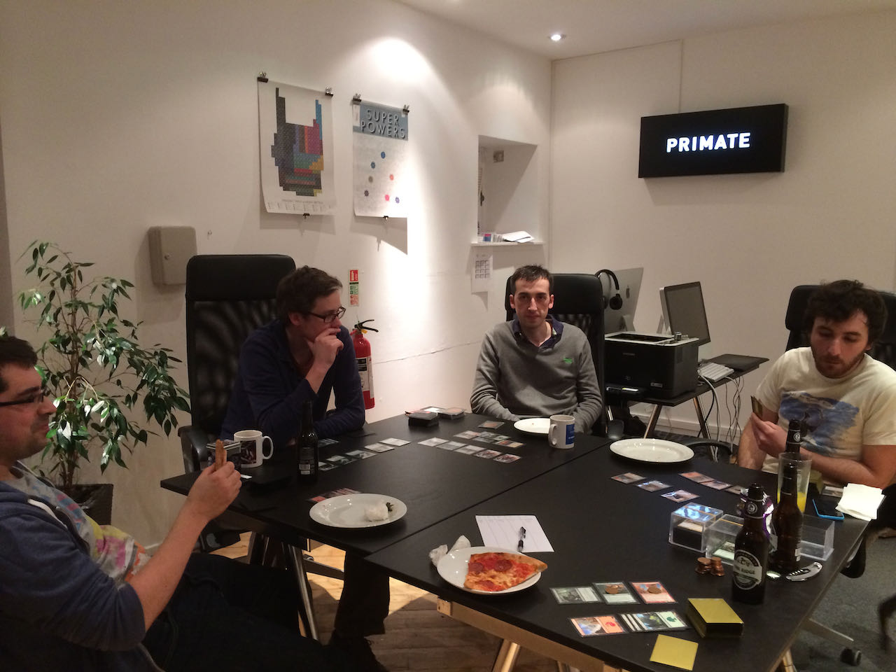 The team playing Magic the Gathering