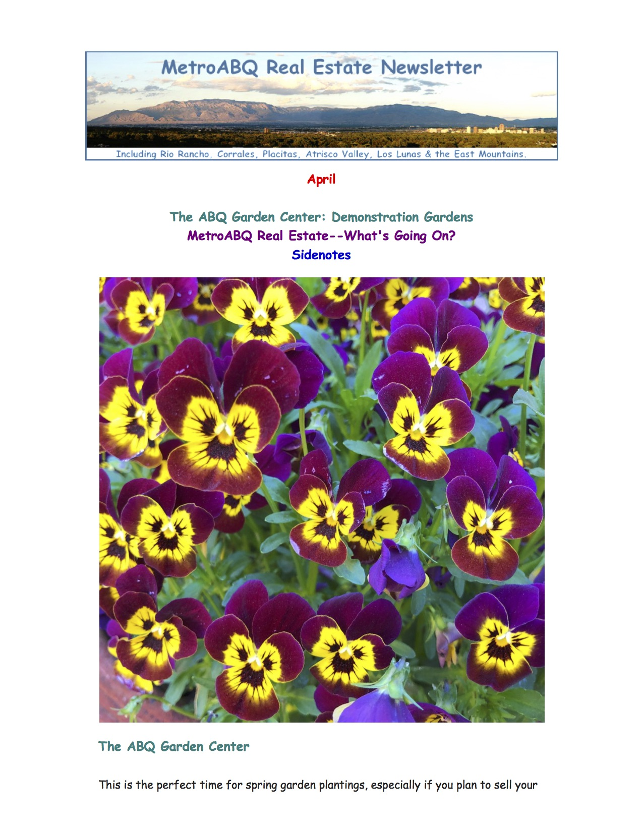 April -- ABQ Garden Center & What's Going On With ABQ Real Estate?