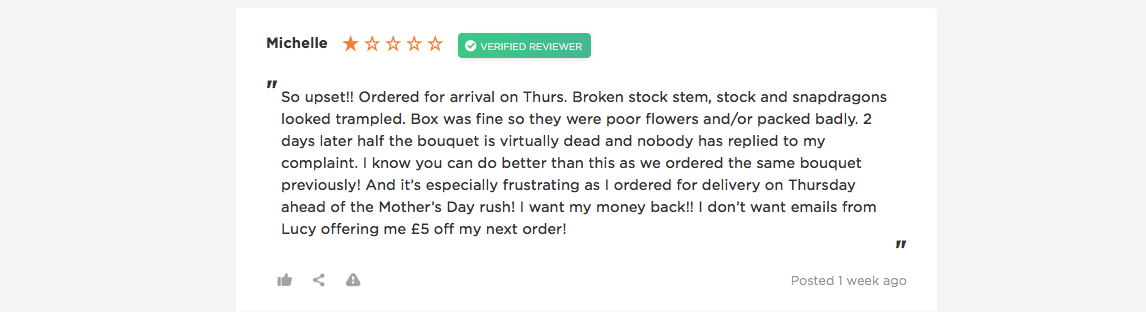 bloom and wild negative reviews
