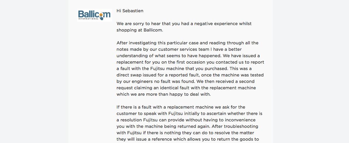 Ballicom Review Response