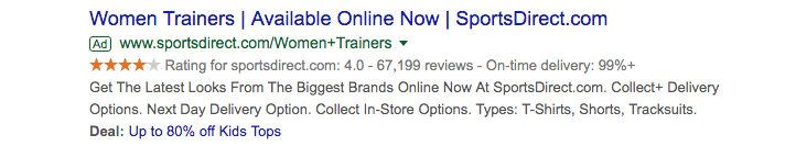 Sports Direct Google Seller Rating