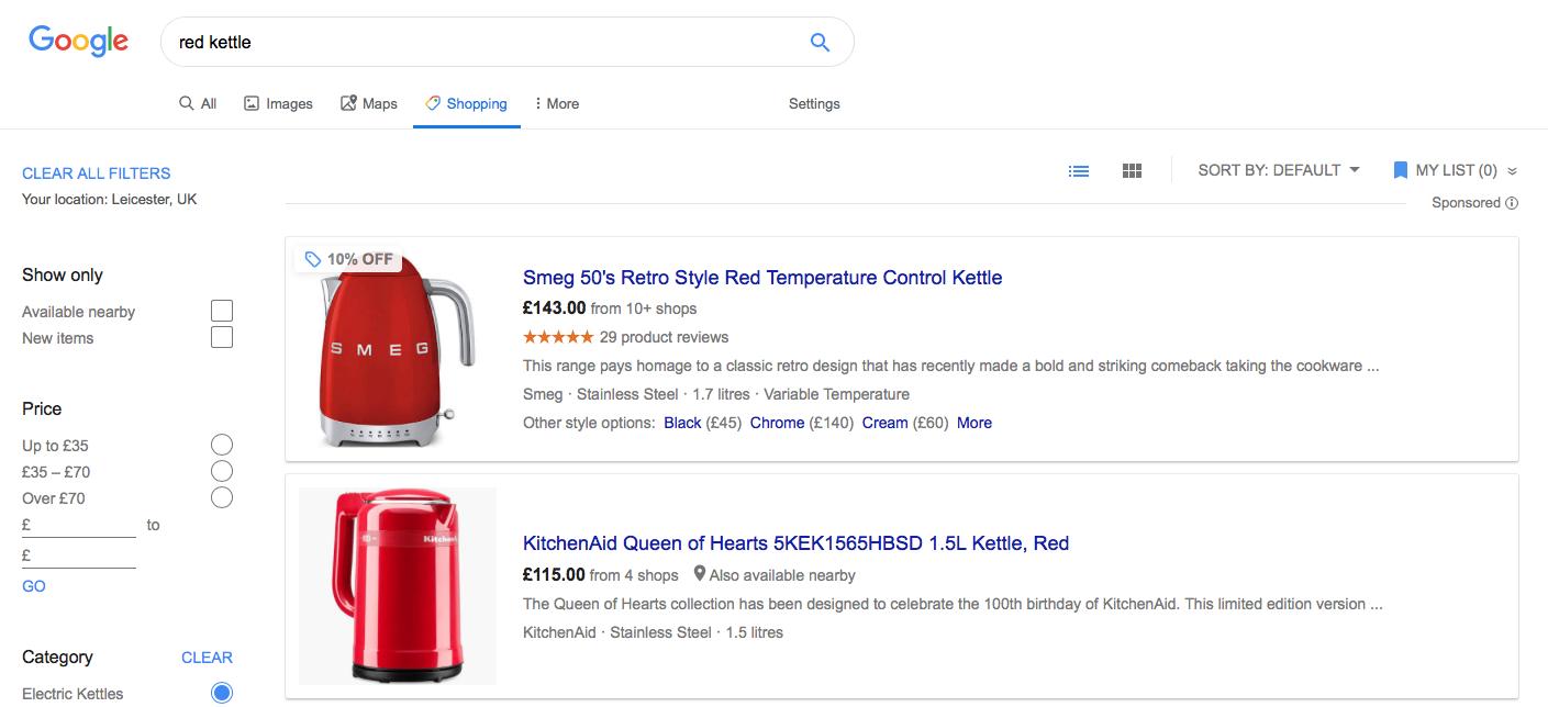 red kettle google shopping