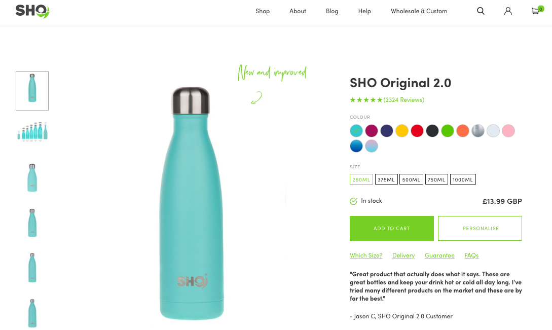 Sho product page