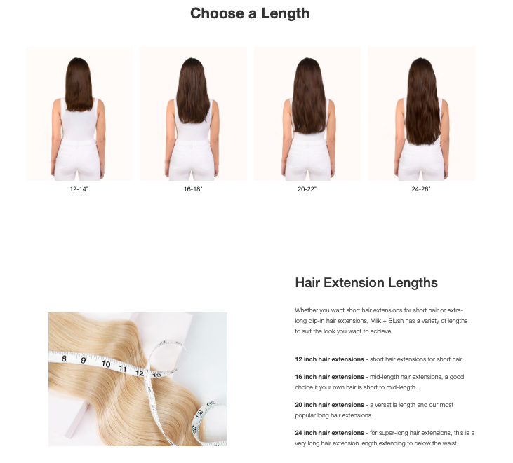 Milk & Blush hair extensions product page