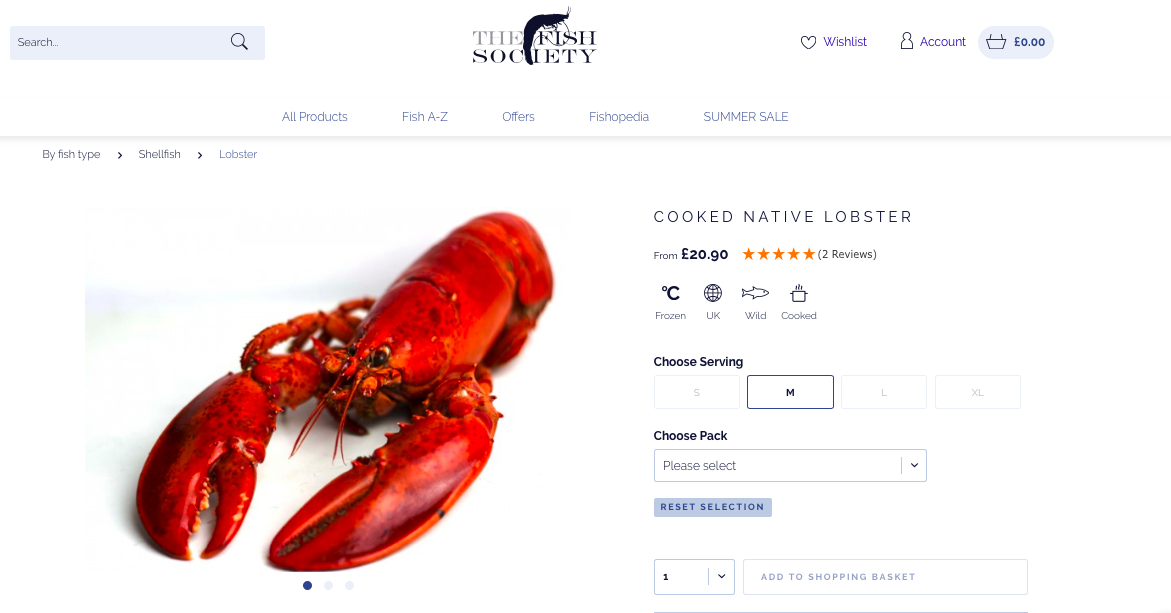 the fish society product page