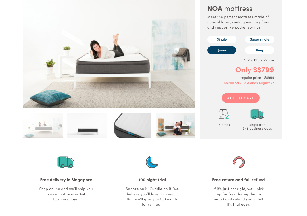noa home mattress product page