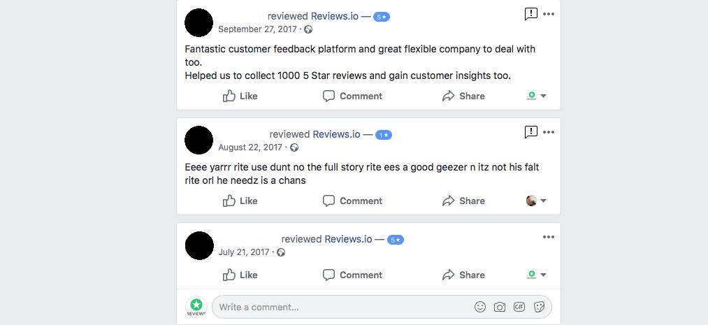 Fake facebook review