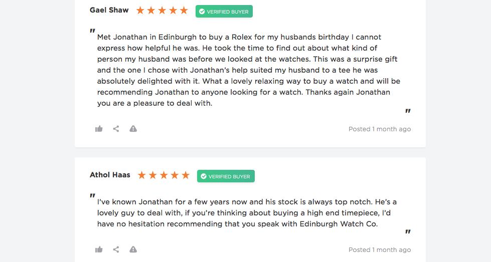 5-star edinburgh watch company reviews