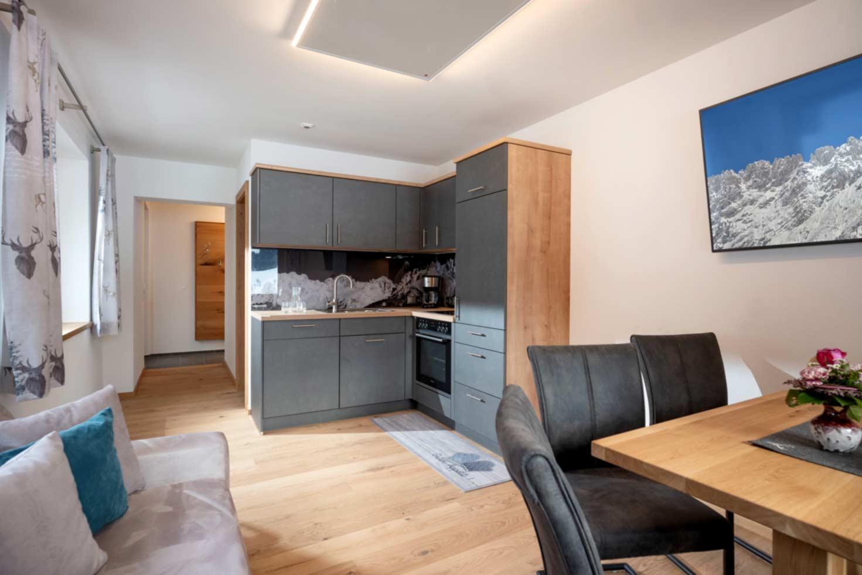 Küche, Ess- und Wohnbereich in der Steiner Appartement Suite 502