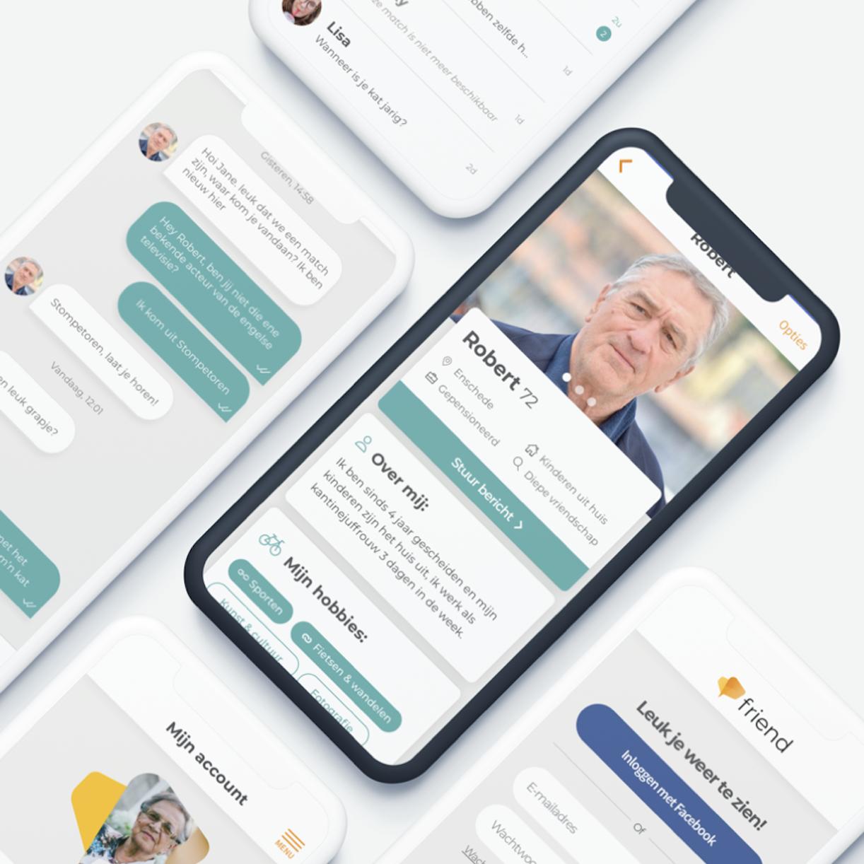 Nationale Nederlanden case - Shot van een mobiele telefoon met een app