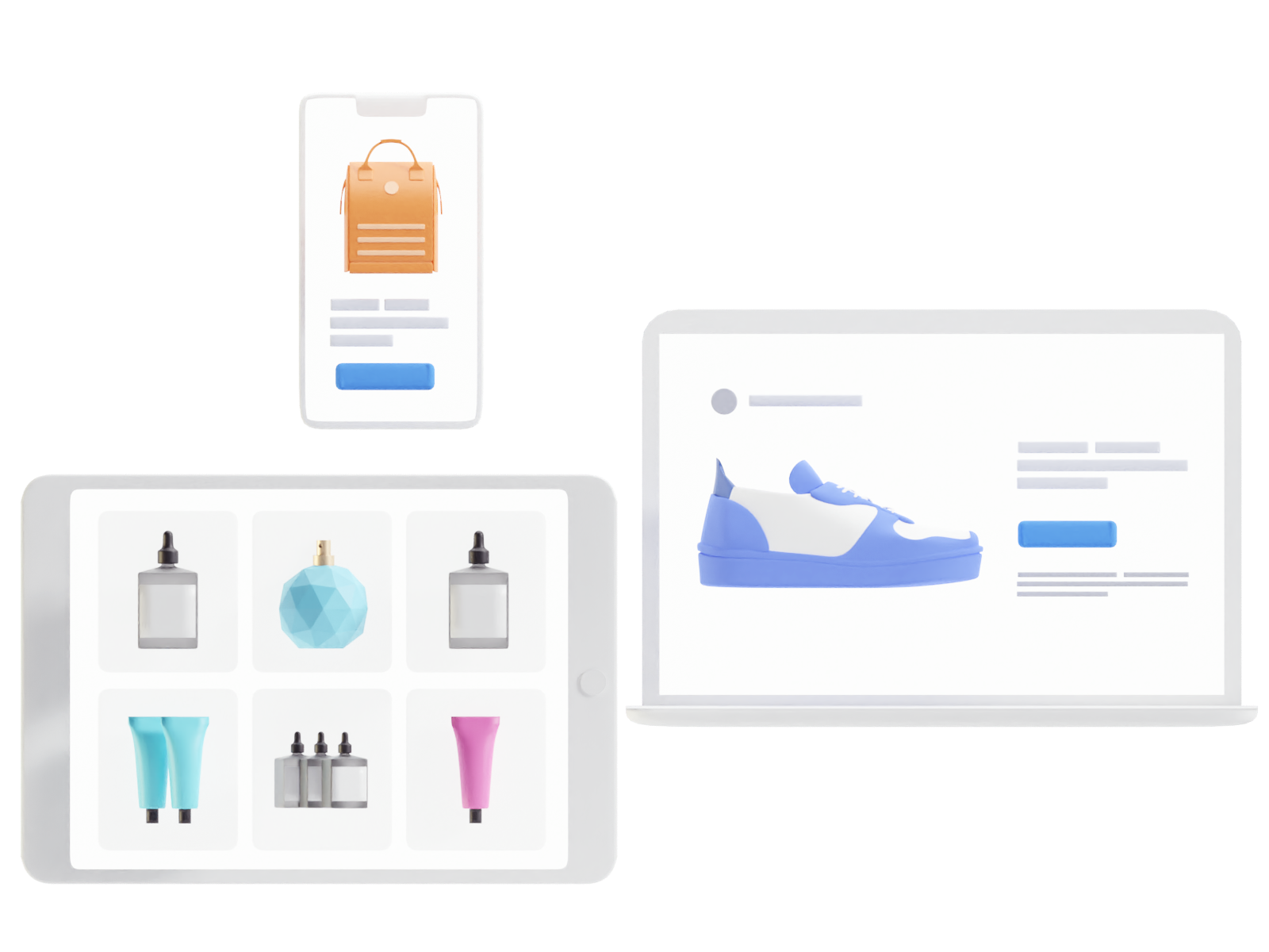 e-commerce websites on phone, tablet and laptop