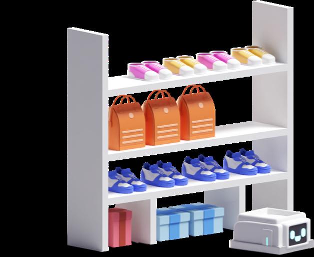 warehouse shelve and robot