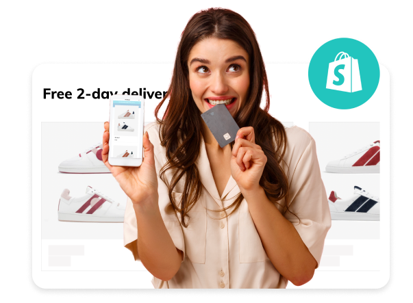 Happy woman in front of a Shopify store