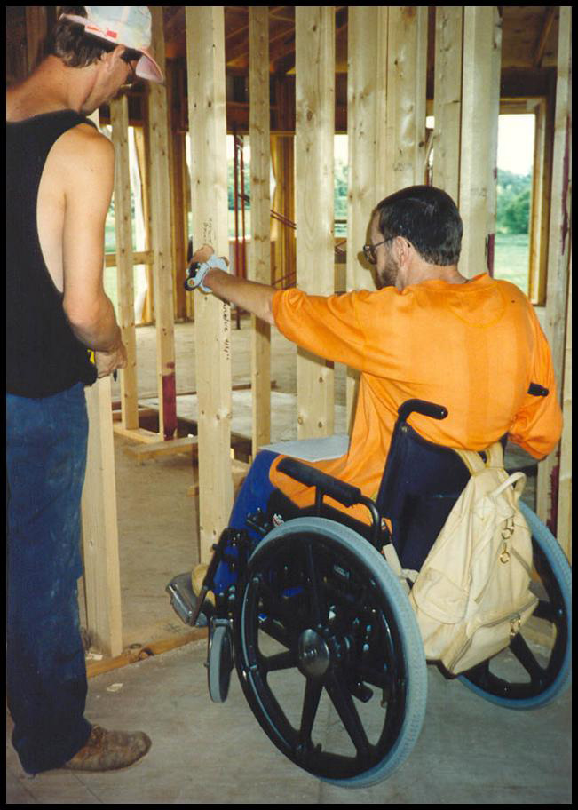 Accessibility Design Clients touring their new home during construction phase
