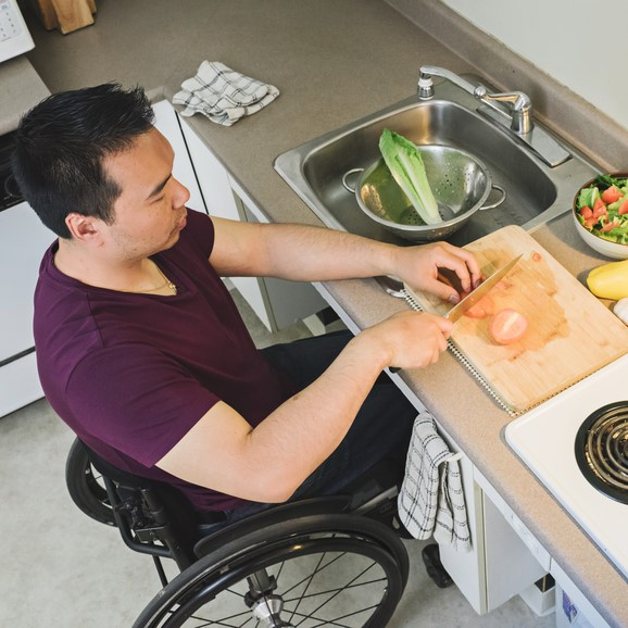 Prepping food at modified sink