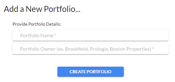 Quickly create a portfolio for all of your buildings.
