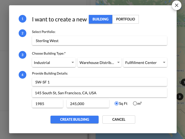 Create a new building profile within seconds.