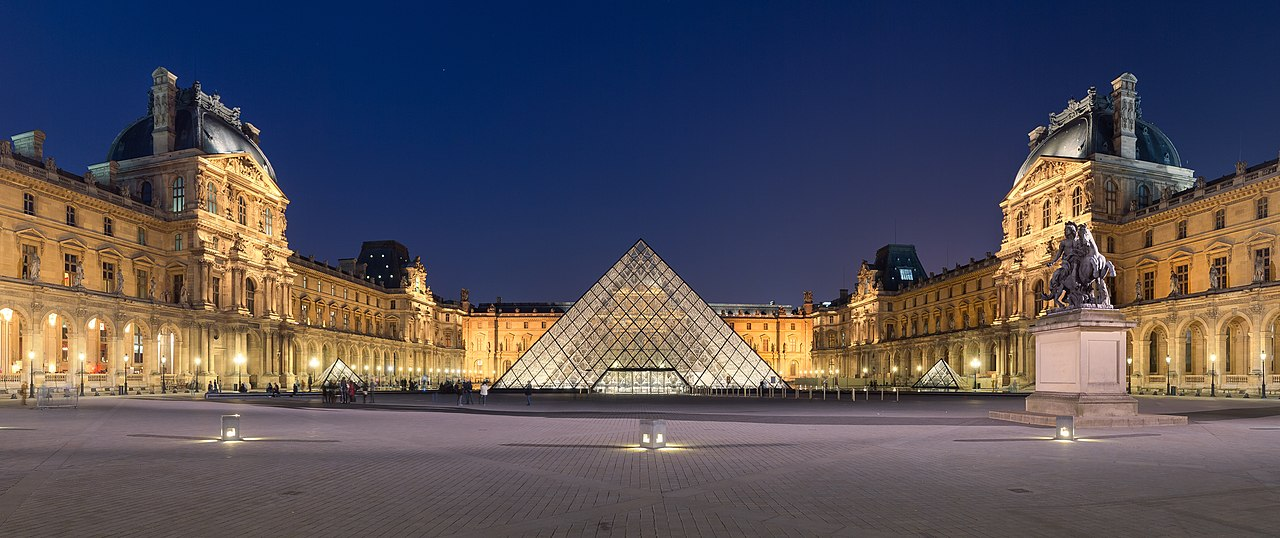 Courtyard of the Louvre Museum with its pyramid (source)