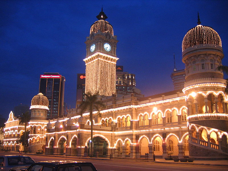 Sultan Abdul Samad Building in Kuala Lumpur, Malaysia, decorated with lights for National Day