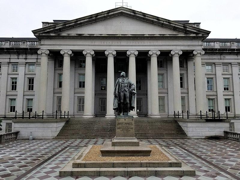 U.S. Treasury Building and Albert Gallatin Statue.jpg