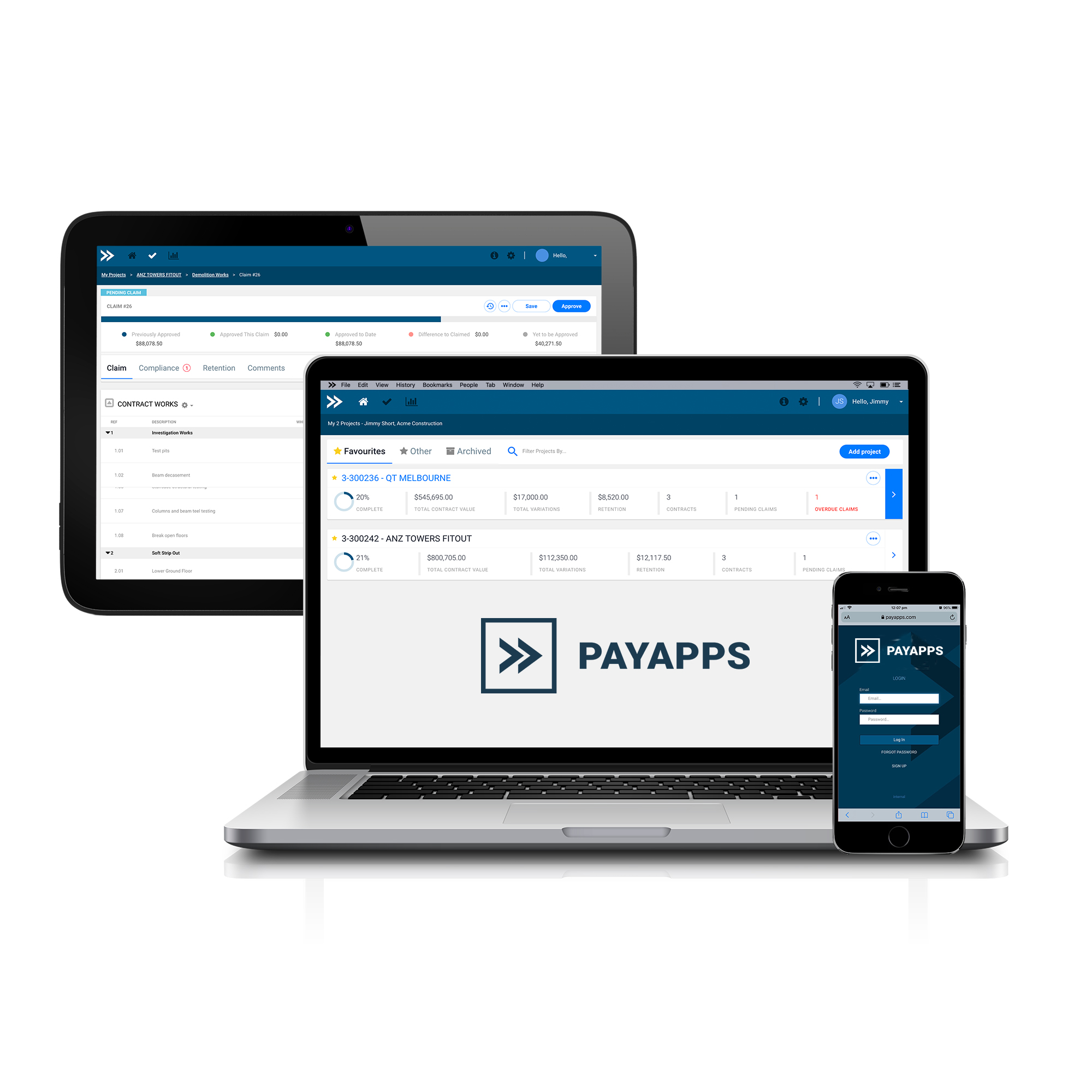 Laptop, tablet and mobiles showing  Payapps application