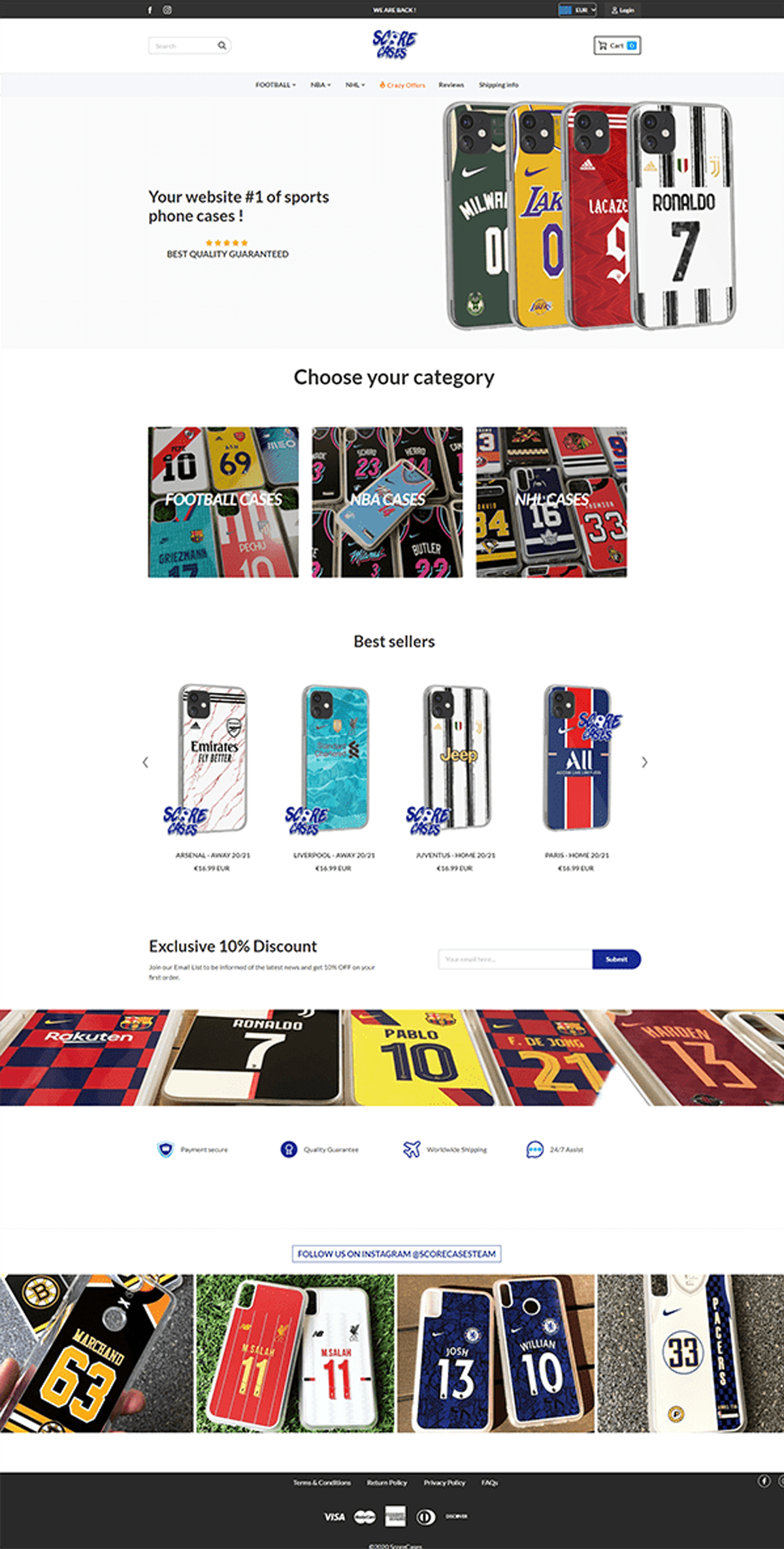 Maquette site web ScoreCases