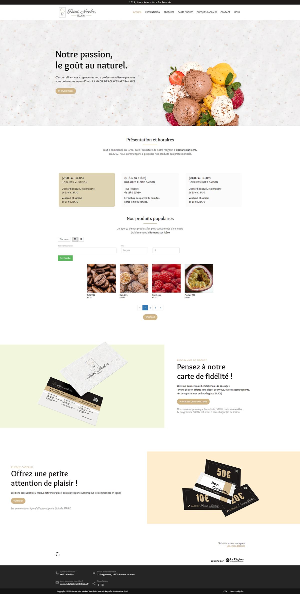 Maquette site web Glacier Saint Nicolas