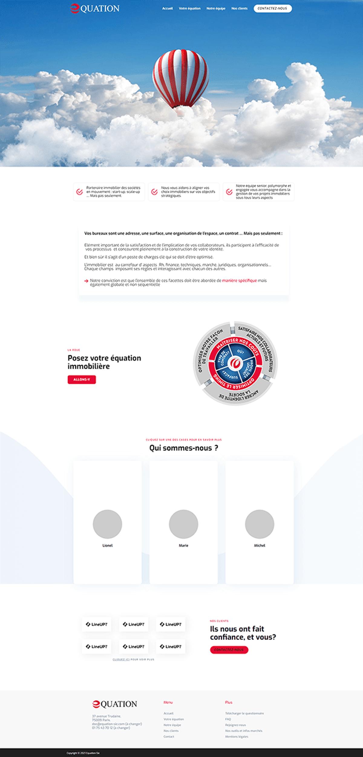 Maquette site web Equation-Sie