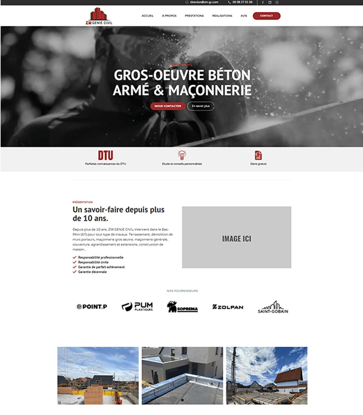 Maquette site web ZM Genie Civil