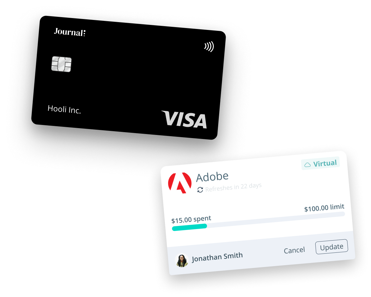 Journal physical and virtual cards enable you to manage on the go and online expenses