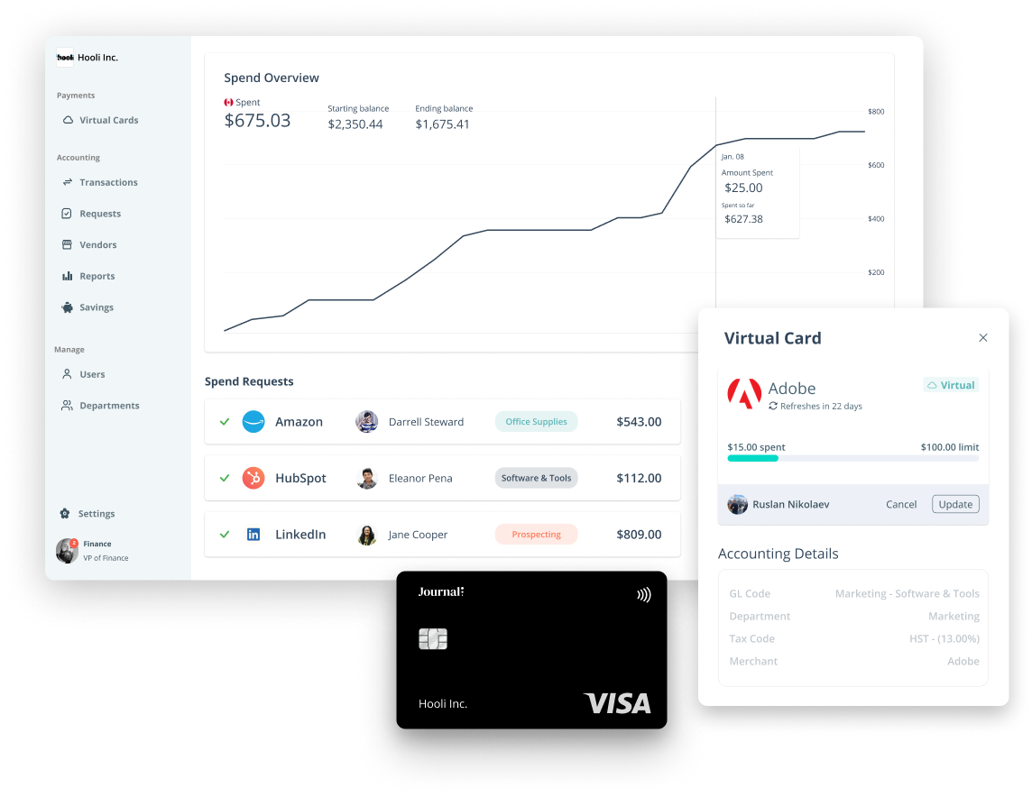 Overview of Journal's all-in-one corporate card spend management solution