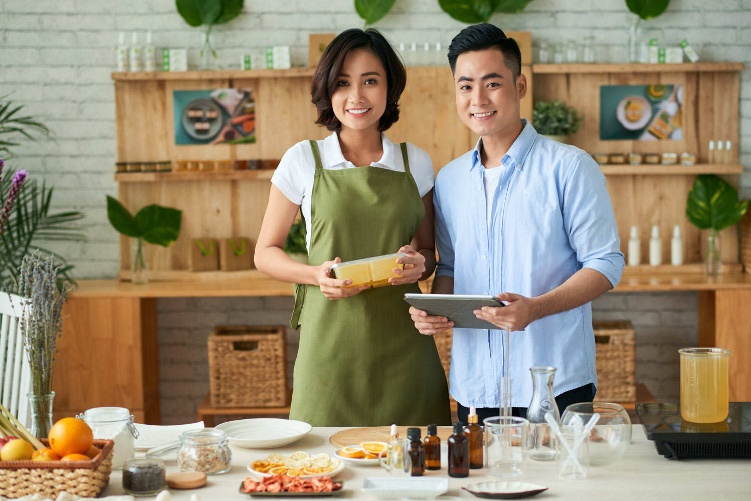 Young asian american small business owners